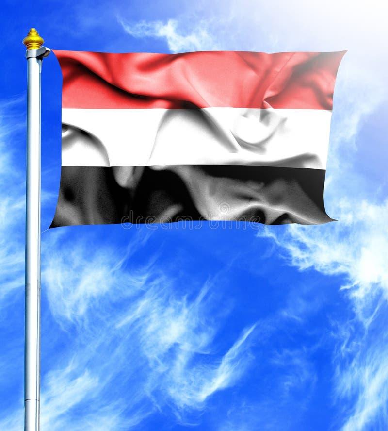 Ciel bleu et mât avec le drapeau de ondulation accroché du Yémen illustration libre de droits