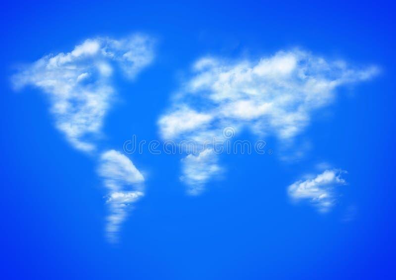 Ciel bleu et nuages comme carte de worlwide illustration stock