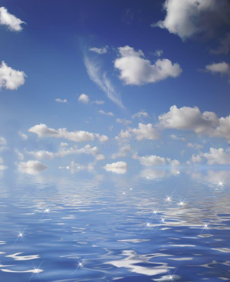 Ciel bleu et océan illustration libre de droits
