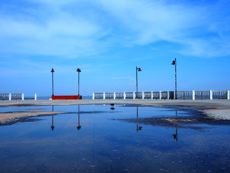Ciel bleu et sa réflexion images stock
