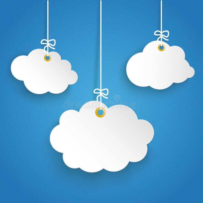 Ciel bleu rayé accrochant du nuage 3 de papier illustration de vecteur
