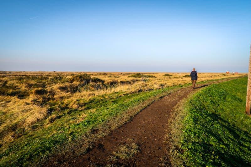 Ciel bleu un jour ensoleillé en Norfolk du nord, Angleterre photo stock