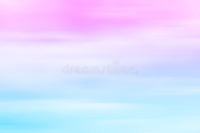 Ciel brouillé au coucher du soleil Rose aux tons bleus et en pastel, gradient image libre de droits