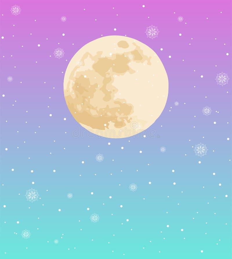 Ciel coloré au néon avec la pleine lune et la neige en baisse photographie stock libre de droits