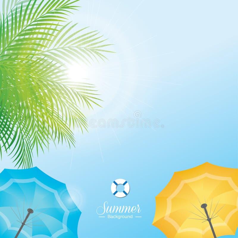 Ciel d'été avec les feuilles vertes de noix de coco et le parapluie de plage coloré illustration libre de droits