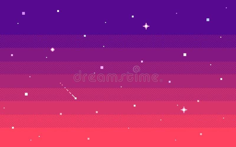 Ciel d'étoile d'art de pixel à la soirée Fond de vecteur illustration stock