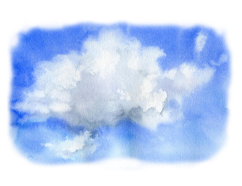 Ciel d'aquarelle avec le nuage Illustration peinte à la main de nature Pour la conception, la copie ou le fond illustration stock
