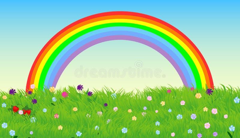 Ciel d'arc-en-ciel et pré vert de ressort, fond de vecteur illustration de vecteur