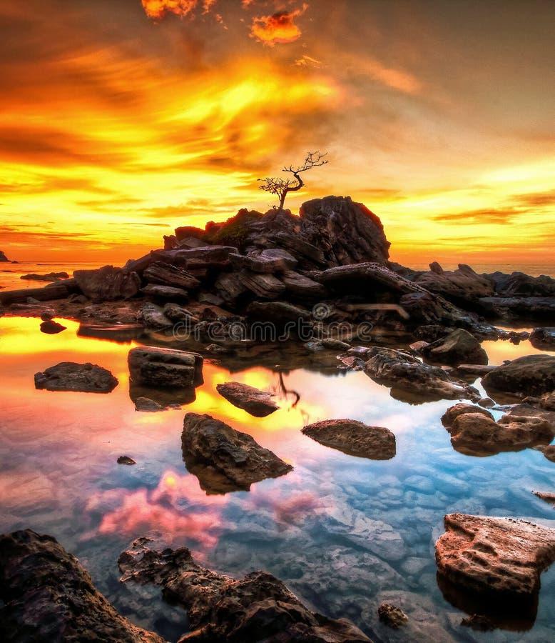 Ciel de coucher du soleil de couleur photographie stock libre de droits