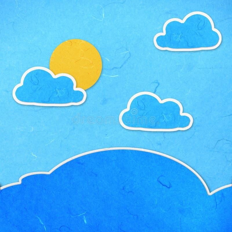 Ciel de coupure de papier de riz avec des nuages illustration libre de droits