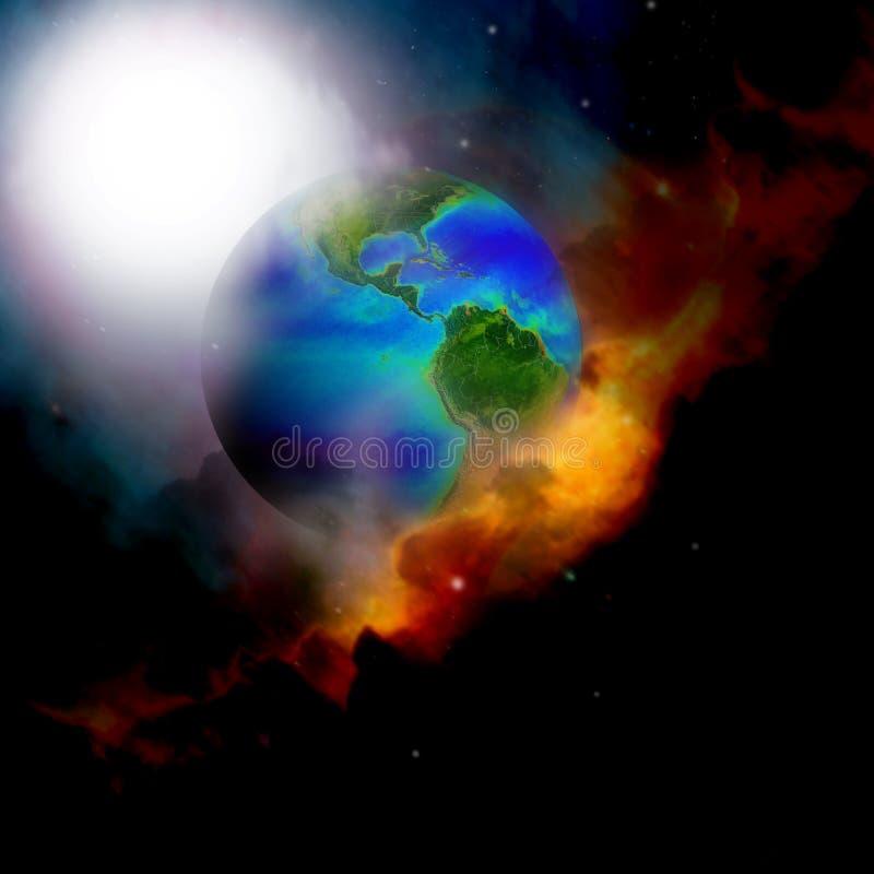 ciel de la terre de nuages illustration de vecteur