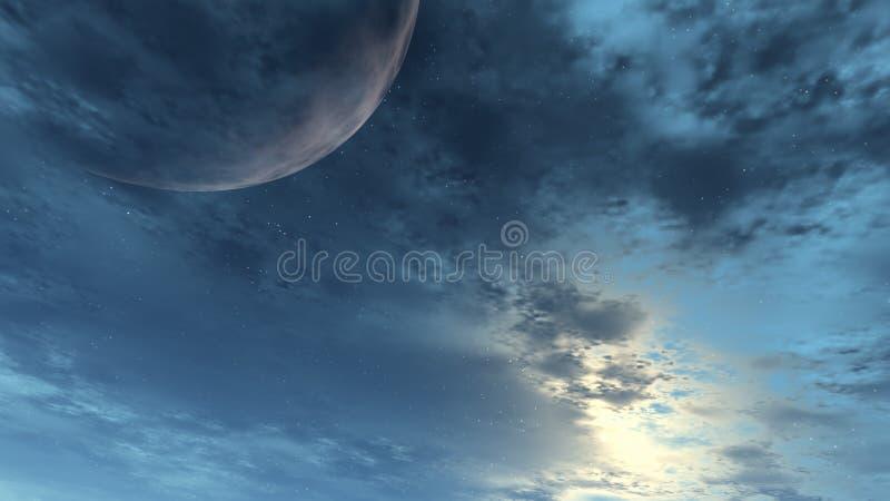 ciel de lune bleue illustration libre de droits
