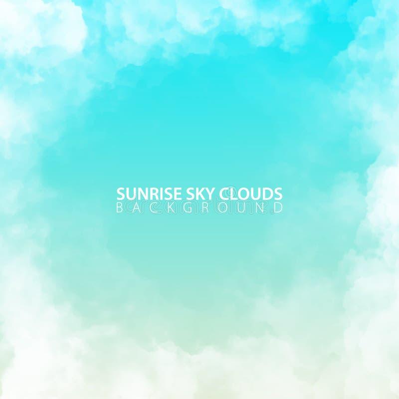 Ciel de matin de lever de soleil avec les nuages réalistes blancs Illustration de vecteur illustration de vecteur