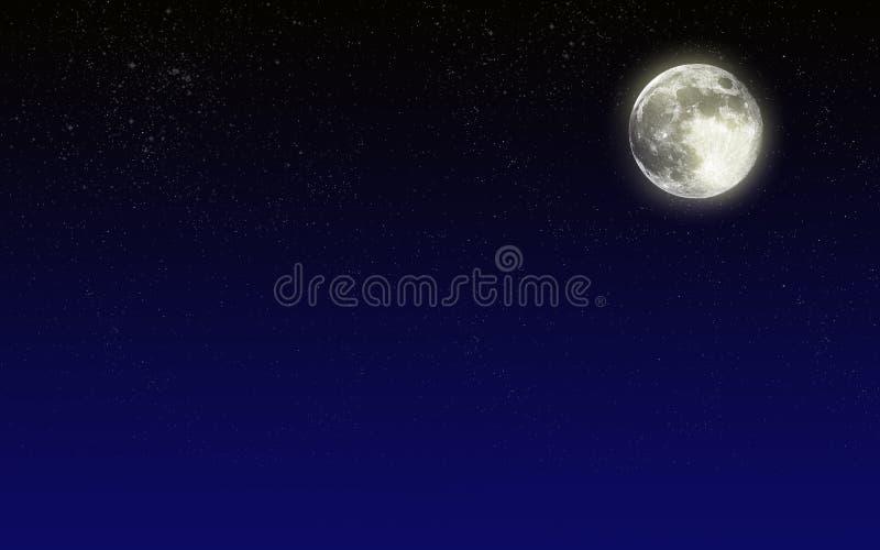 Ciel de nuit avec la lune illustration de vecteur
