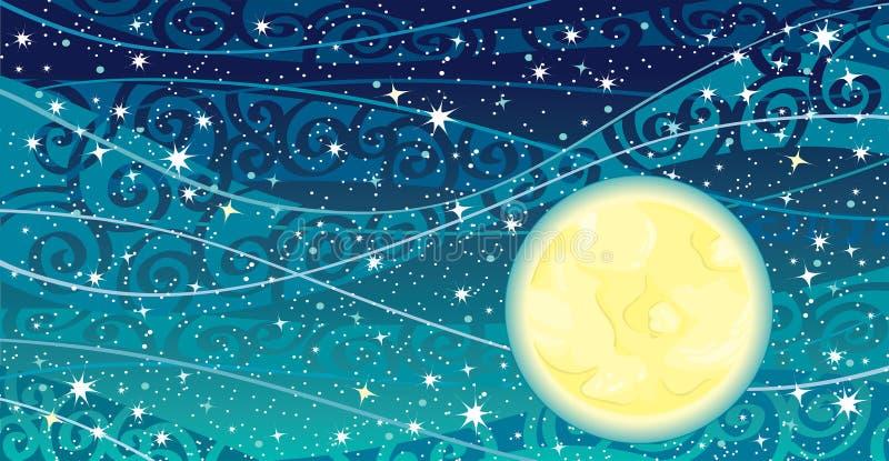 Ciel de nuit avec la lune illustration libre de droits