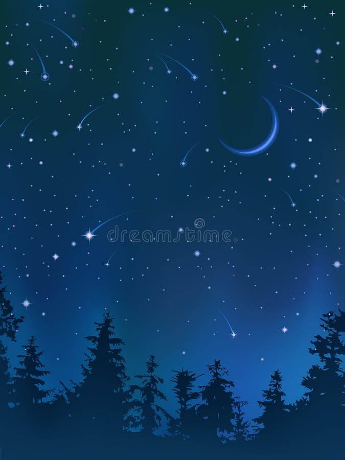 Ciel de nuit clair au-dessus de la forêt