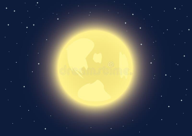 ciel de nuit de pleine lune illustration de vecteur