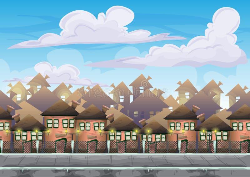 Ciel de ville de vecteur de bande dessinée avec des couches séparées pour le jeu et l'animation illustration de vecteur
