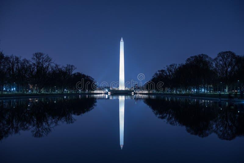 Ciel de Washington Monument Against Blue Night photo libre de droits