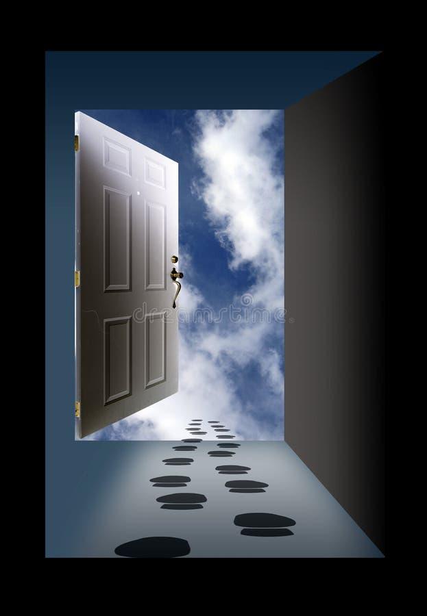 Ciel et empreintes de pas de porte ouverte photo libre de droits