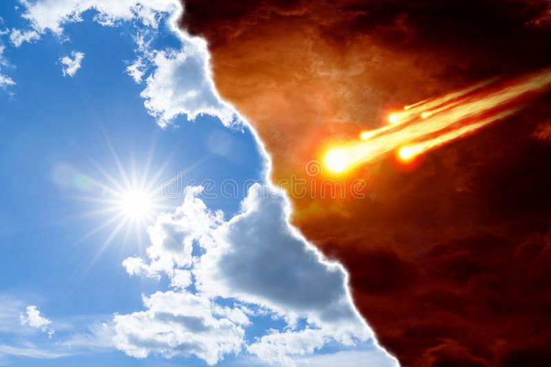 Ciel et enfer, le bien et le mal, léger et obscurité photo libre de droits