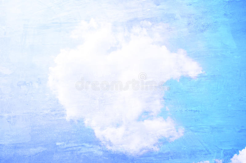 ciel et nuages d'ฺฺBlue sur la texture de mur en béton image stock