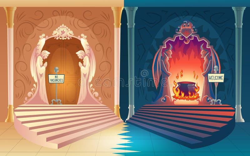 Ciel fermé et vecteur ouvert de portes d'enfer illustration de vecteur