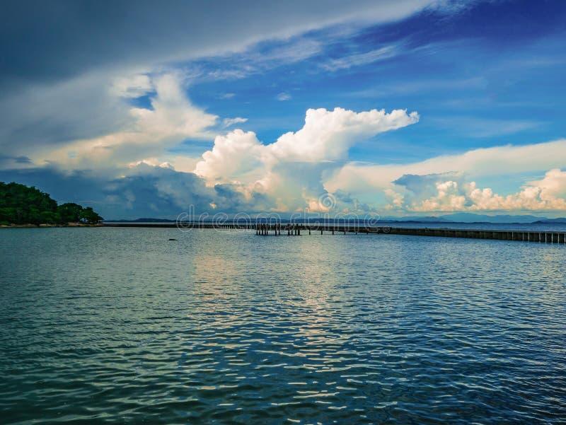 Ciel idyllique étonnant d'océan et de coucher du soleil avec l'horizon sans fin dans le VCA photo libre de droits