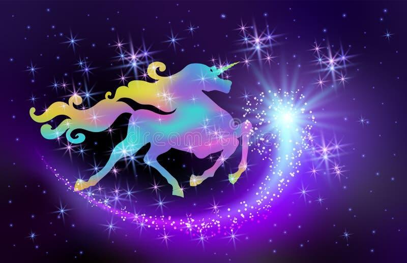 Ciel illuminé par les étoiles et licorne iridescente avec la crinière de enroulement luxueuse dans la perspective de l'univers d' illustration stock