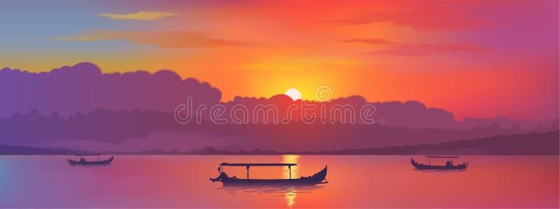 Ciel lumineux de coucher du soleil de couleurs avec la réflexion du soleil dans le lac avec les silhouettes asiatiques de bateaux illustration stock