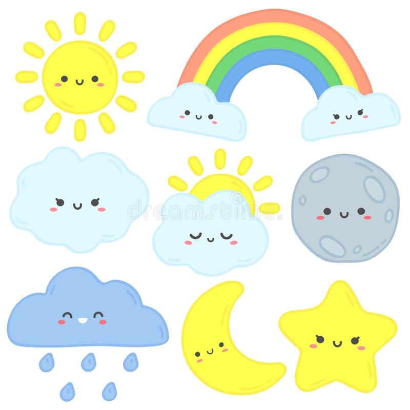 Ciel mignon Le soleil heureux, lune drôle et étoile tirée par la main Nuages de sommeil de crèche, arc-en-ciel de bébé et v illustration libre de droits