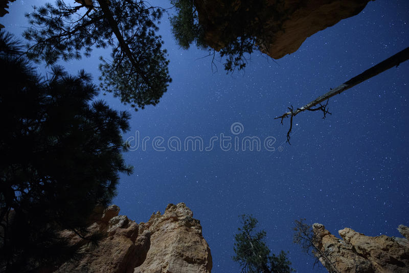 Ciel nocturne à l'intérieur du canyon photos stock