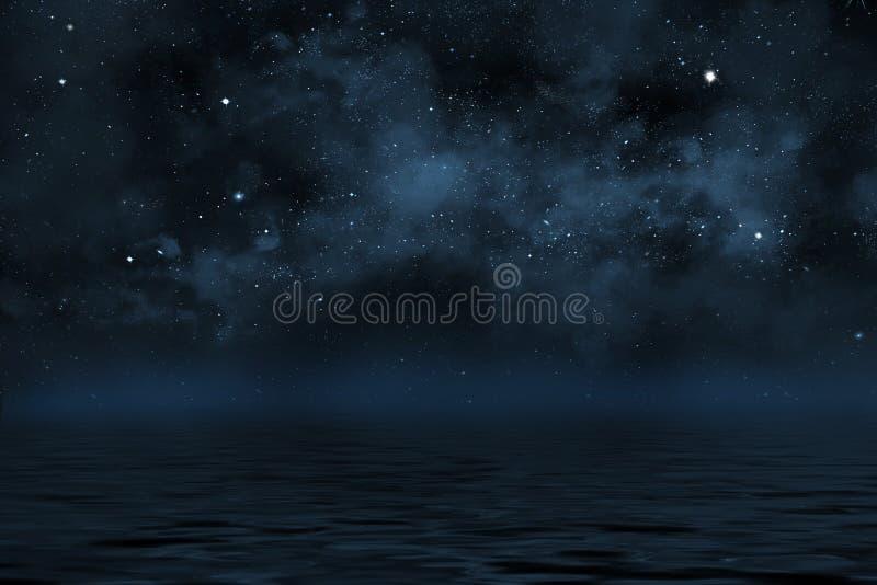 Ciel nocturne étoilé avec les étoiles et la nébuleuse bleue illustration stock