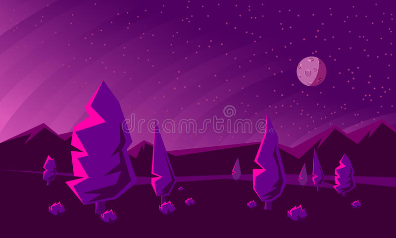 Ciel nocturne abstrait avec la lune Vallée de montagne avec des arbres au coucher du soleil illustration de vecteur