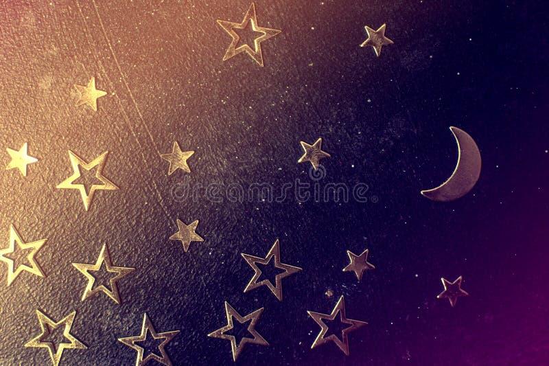 Ciel nocturne avec des étoiles et le macro d'objets de lune photographie stock libre de droits