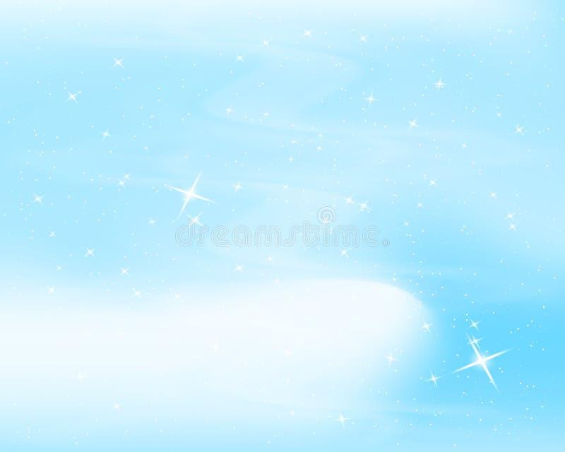 Ciel nocturne avec des étoiles et des nuages Fond bleu étoilé d'étincelle Conception gentille pour la pièce de bébé Illustration  illustration stock