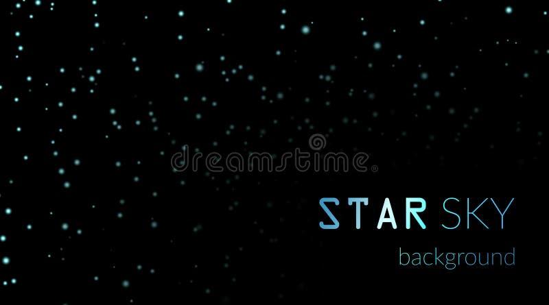 Ciel nocturne avec les étoiles bleues sur le fond noir Calibre foncé de l'espace d'astronomie Modèle étoilé de galaxie pour le pa illustration libre de droits