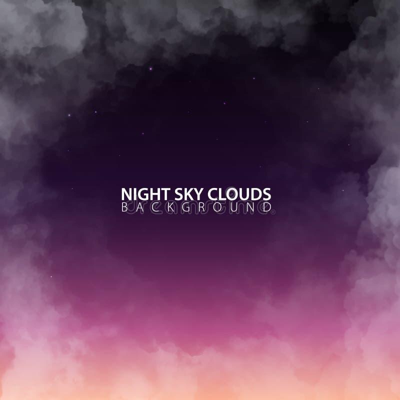 Ciel nocturne avec les nuages réalistes blancs Illustration de vecteur illustration de vecteur