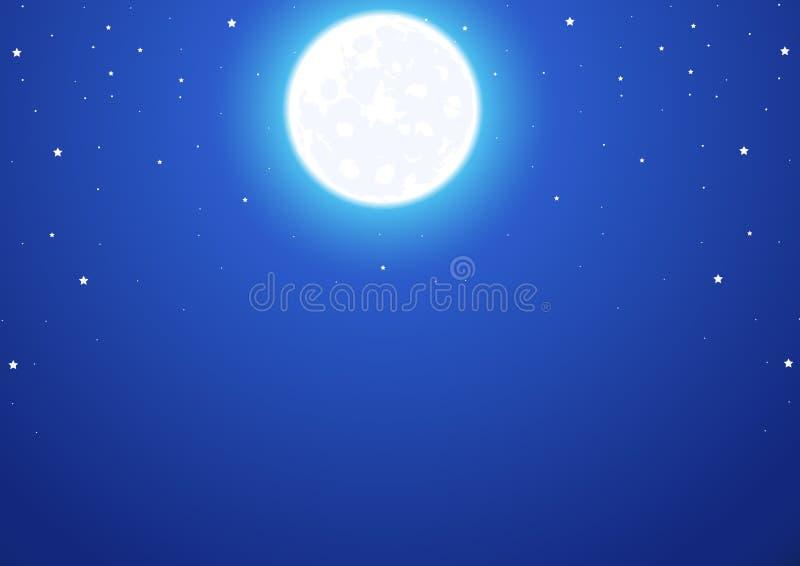 Ciel nocturne avec une pleine lune et des étoiles illustration stock
