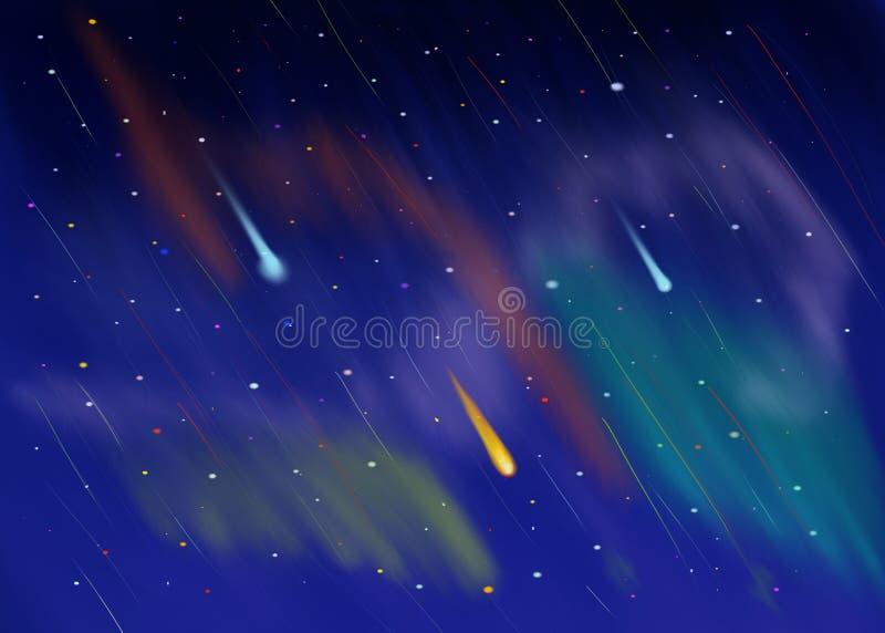 Ciel nocturne cosmique avec le backgroung d'étoiles filantes illustration stock