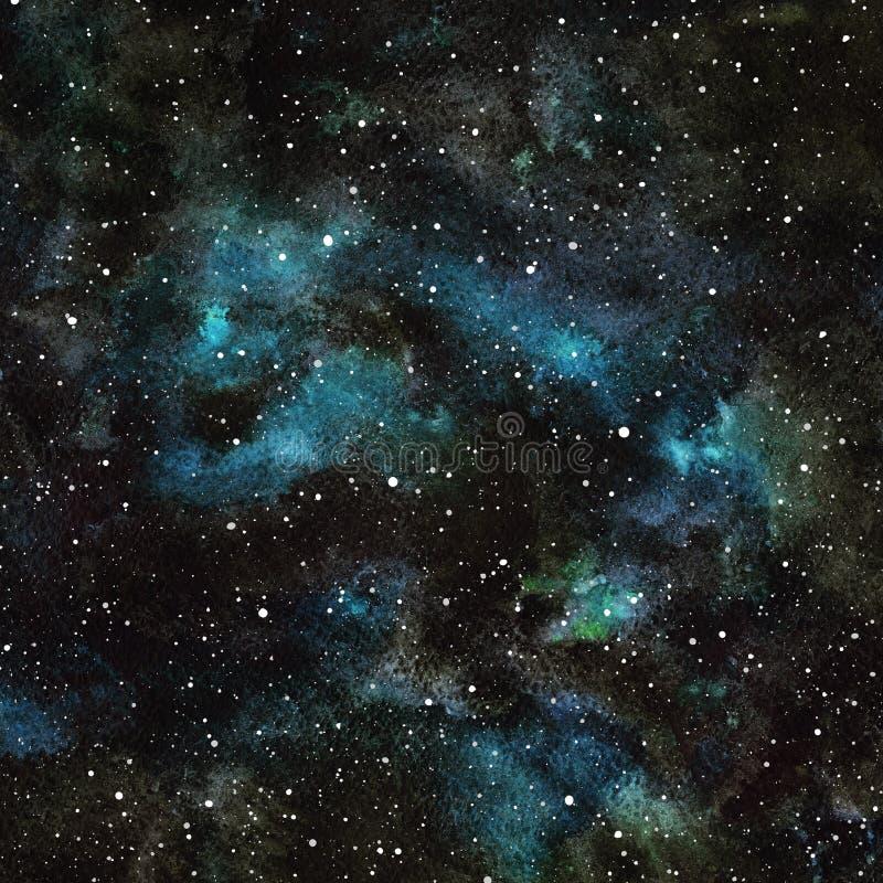 Ciel nocturne d'aquarelle avec des étoiles illustration libre de droits
