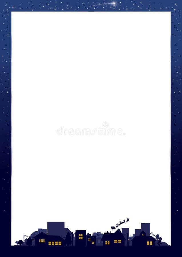Ciel nocturne de cadre de frontière de carte de Noël de vacances photo stock