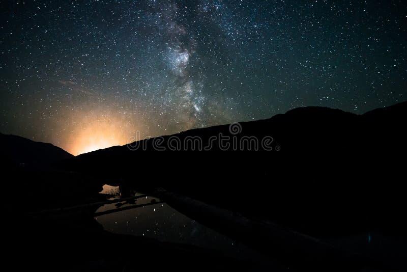 Ciel nocturne de galaxie de manière laiteuse au-dessus de petit étang avec la réflexion Canada, Colombie-Britannique image libre de droits
