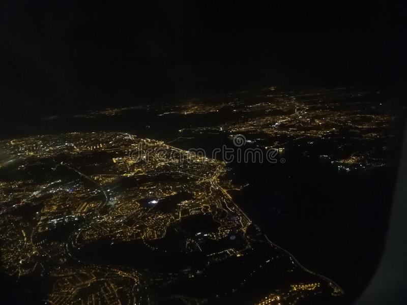 Ciel nocturne Lisbonne photographie stock