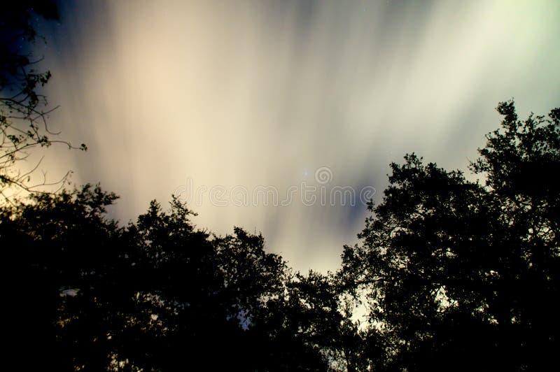 Ciel nocturne rougeoyant avec des nuages et des étoiles image stock