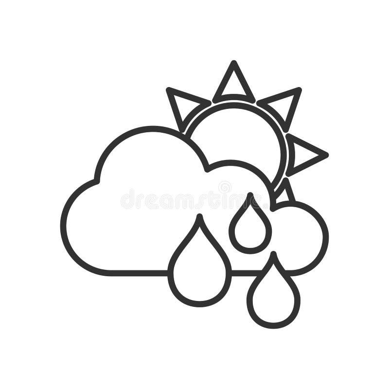 Ciel nuageux avec l'icône d'ensemble de pluie sur le blanc illustration stock