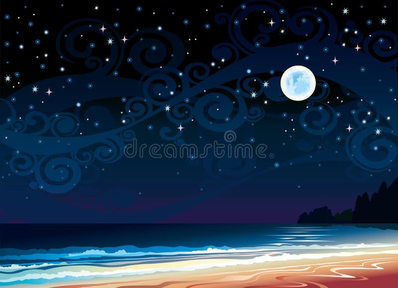 Ciel nuageux avec la pleine lune, la plage et la mer illustration libre de droits