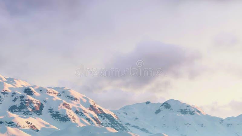 Ciel nuageux d'hiver au-dessus des crêtes de montagne illustration stock