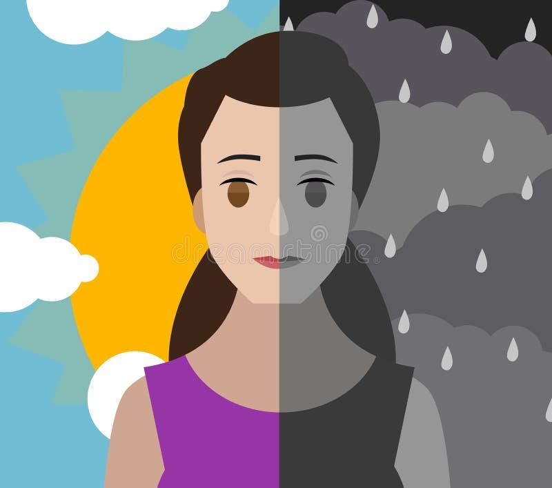 Ciel nuageux et brillant de double personnalité de trouble mental de femme bipolaire de fille illustration libre de droits