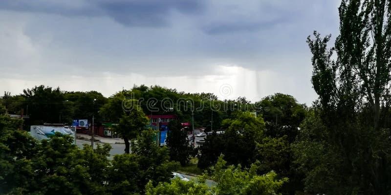Ciel obscurci avec des arbres et la vue de route image libre de droits